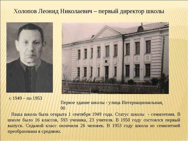 Холопов Леонид Николаевич – первый директор школы с 1949 – по 1953 Первое зда...