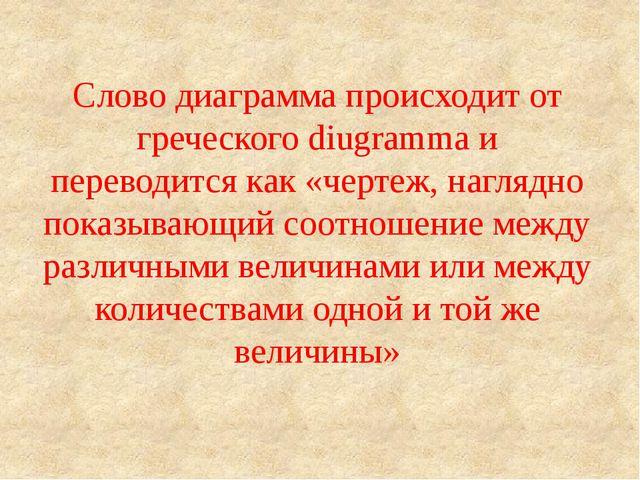 Слово диаграмма происходит от греческого diugramma и переводится как «чертеж,...