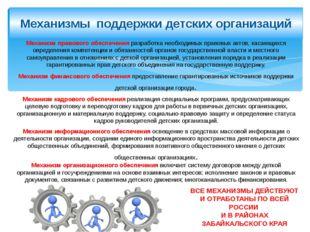 Механизмы поддержки детских организаций Механизм правового обеспечения разраб