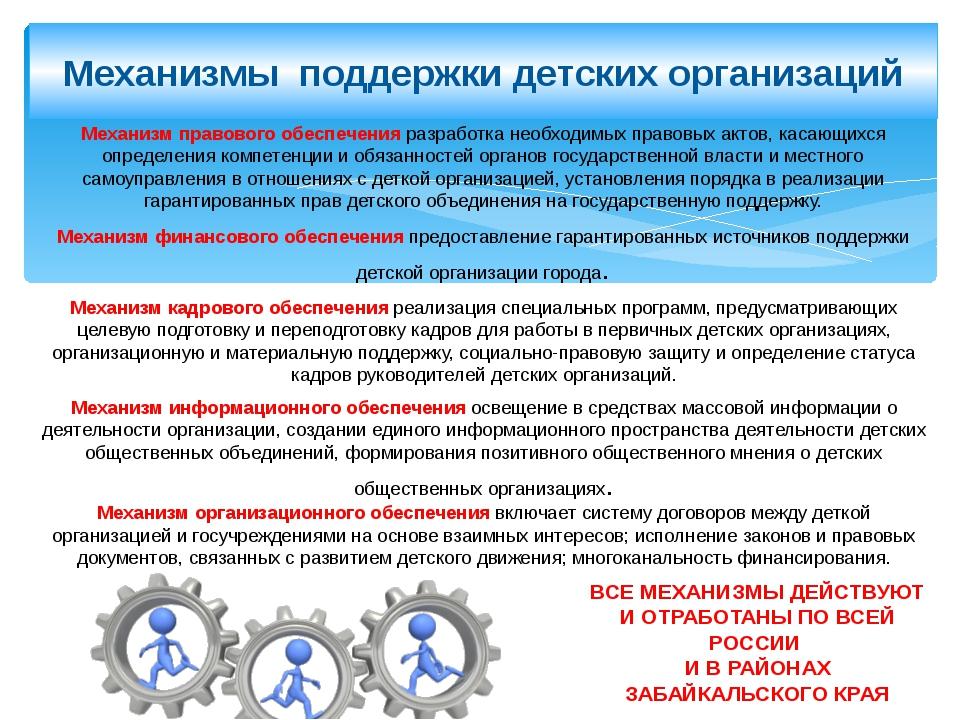 Механизмы поддержки детских организаций Механизм правового обеспечения разраб...