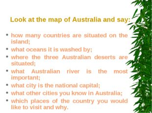 Look at the map of Australia and say: how many countries are situated on the