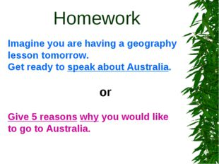 Homework Imagine you are having a geography lesson tomorrow. Get ready to sp