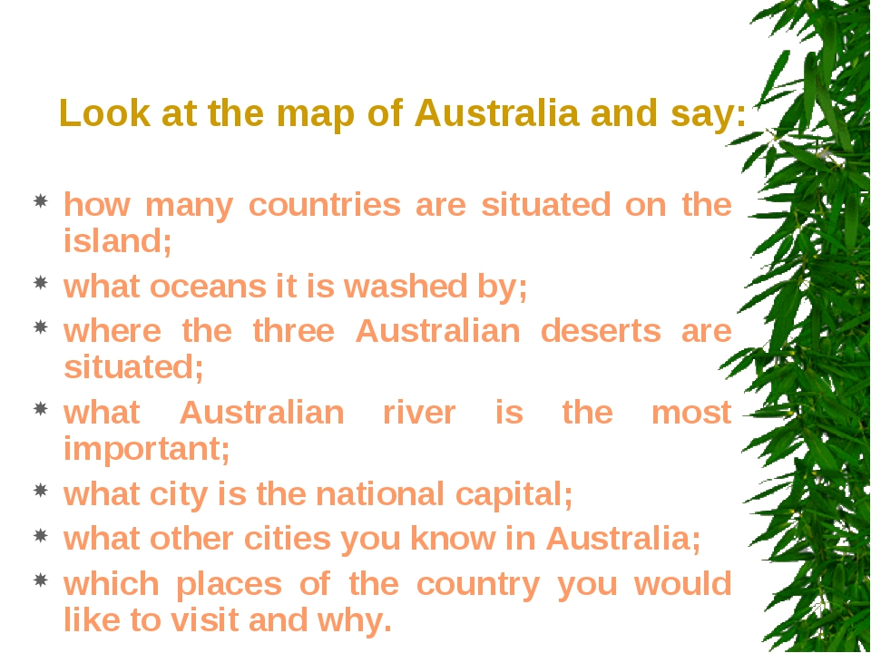 Look at the map of Australia and say: how many countries are situated on the...