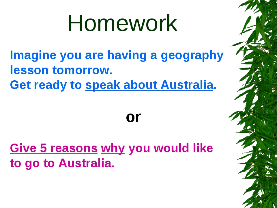 Homework Imagine you are having a geography lesson tomorrow. Get ready to sp...