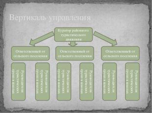 Вертикаль управления Куратор районного туристического движения Ответственный