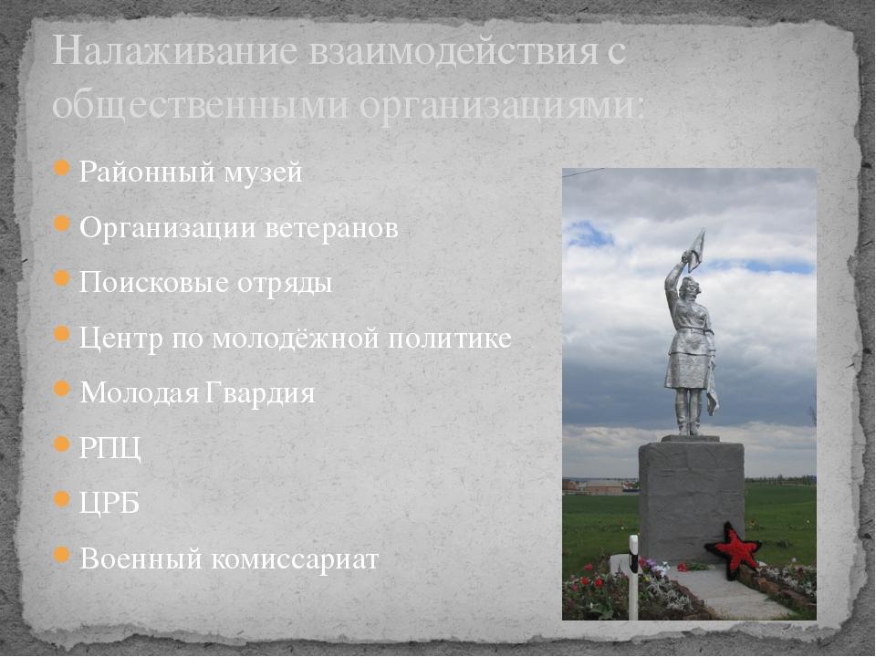 Районный музей Организации ветеранов Поисковые отряды Центр по молодёжной пол...