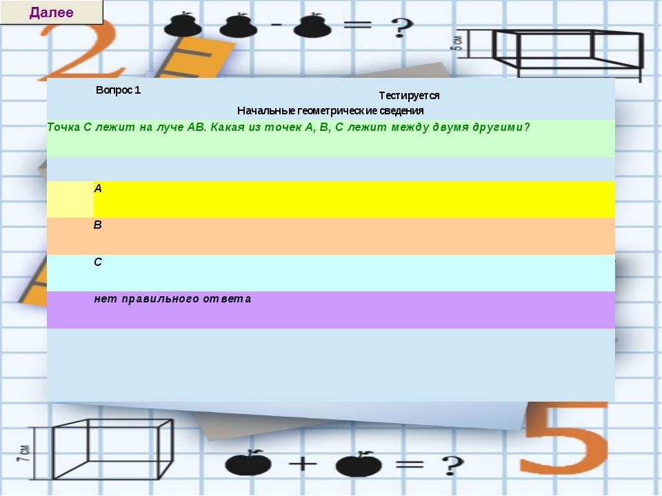 Вопрос 1 Тестируется  Начальные геометрические сведения Точка С лежит на луч...