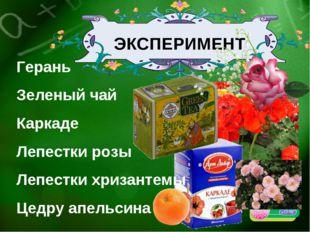ЭКСПЕРИМЕНТ Герань Зеленый чай Каркаде Лепестки розы Лепестки хризантемы Цедр