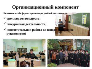 Организационный компонент Включает в себя формы организации учебной деятельно