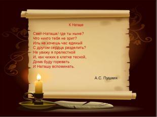 К Наташе А.С. Пушкин Свет-Наташа! где ты ныне? Что никто тебя не зрит? Иль н