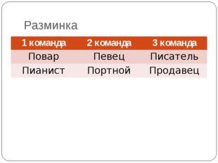Разминка 1 команда 2 команда 3 команда Повар Певец Писатель Пианист Портной П