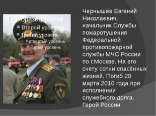 Чернышёв Евгений Николаевич, начальник Службы пожаротушения Федеральной проти