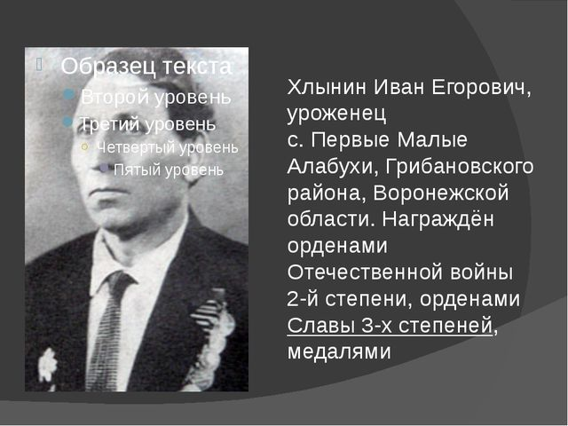 Хлынин Иван Егорович, уроженец с. Первые Малые Алабухи, Грибановского района,...