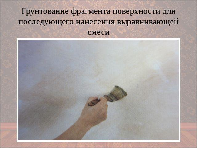 Грунтование фрагмента поверхности для последующего нанесения выравнивающей с...