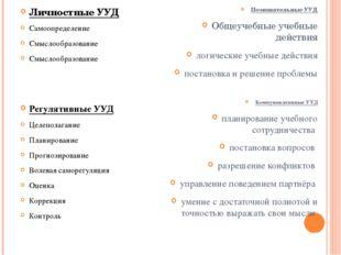 Личностные УУД Самоопределение Смыслообразование Смыслообразование Регулятивн