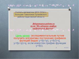 """Лабораторная работа по теме:""""Исследование графика квадратичной функции"""" Цель"""
