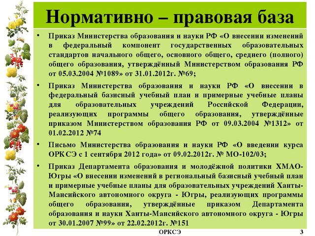 Нормативно – правовая база Приказ Министерства образования и науки РФ «О внес...