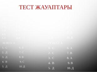 ТЕСТ ЖАУАПТАРЫ I НҰСҚА 1. Д 6. В 2. В 7. В 3. В 8. В 4. Е 9. С 5. С 10.В 1I.
