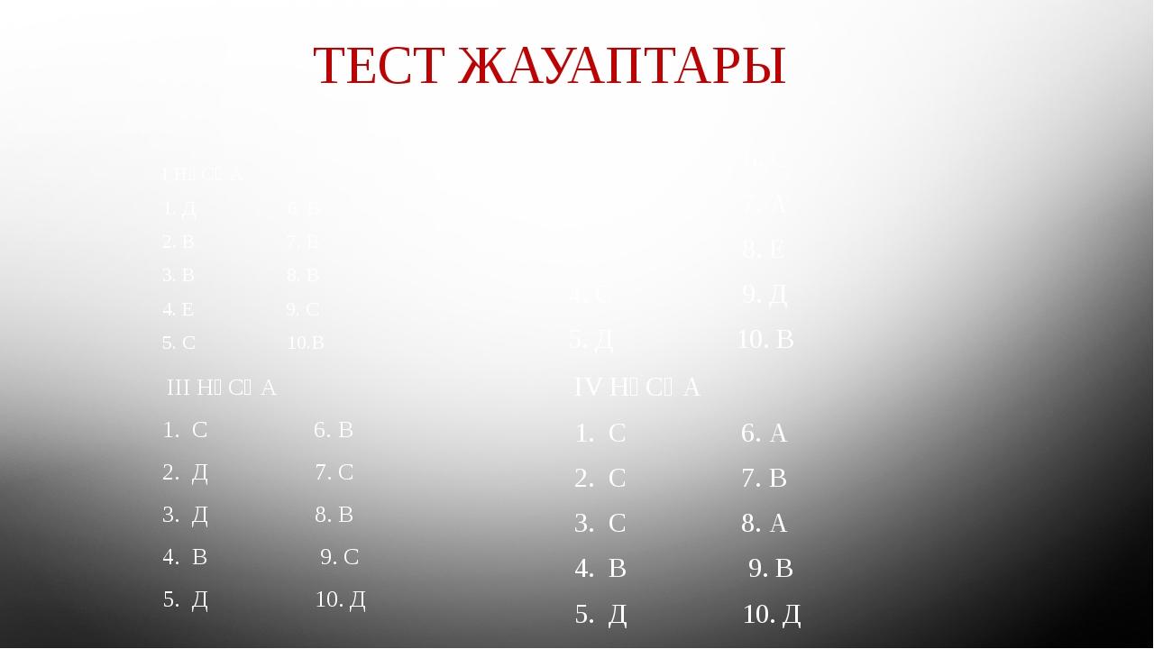 ТЕСТ ЖАУАПТАРЫ I НҰСҚА 1. Д 6. В 2. В 7. В 3. В 8. В 4. Е 9. С 5. С 10.В 1I....