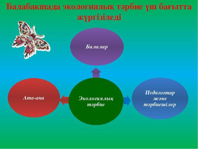 Балабақшада экологиялық тәрбие үш бағытта жүргізіледі
