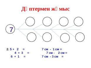 Дәптермен жұмыс 5 + 2 =7 см - 1 см = 4 + 3 =7 см - 2 см = 6 + 1 =