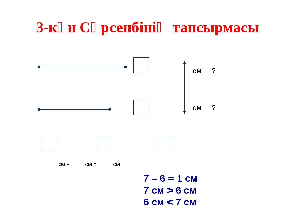 3-күн Сәрсенбінің тапсырмасы см ? см ? см - см = см 7 – 6 = 1 см 7 см > 6 см...