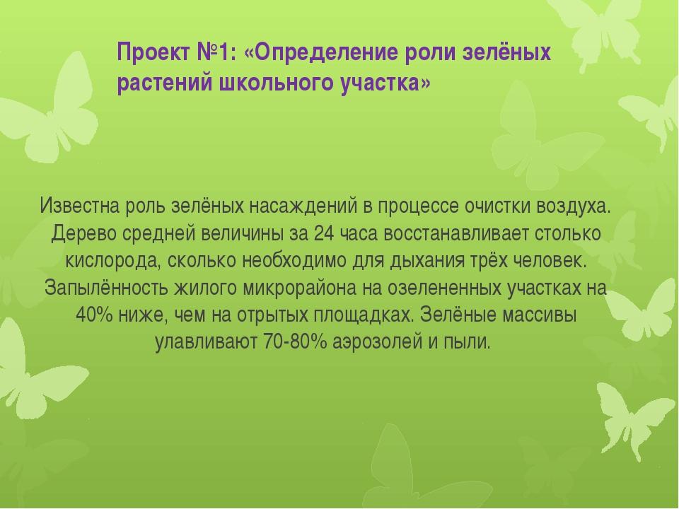 Проект №1: «Определение роли зелёных растений школьного участка» Известна рол...