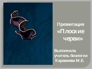 Презентация «Плоские черви» Выполнила учитель биологии Караваева М.Е.
