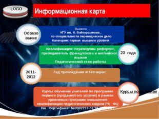 www.themegallery.com Информационная карта Высшее КГУ им. А. Байтурсынова , по