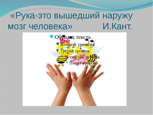 «Рука-это вышедший наружу мозг человека» И.Кант.