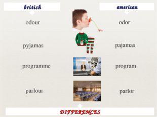 british american odor pyjamas pajamas programme program parlour parlor DIFFER