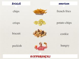 british american french fries crisps potato chips biscuit cookie peckish hung