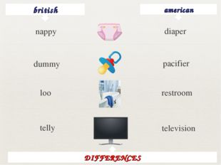 british american diaper dummy pacifier loo restroom telly television DIFFEREN