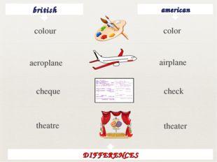 british american color aeroplane airplane cheque check theatre theater DIFFER