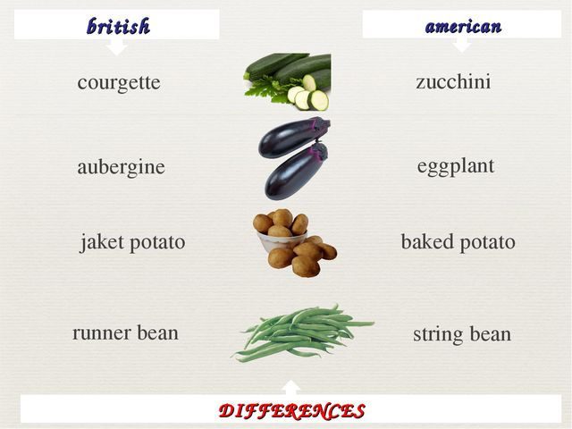 british american zucchini aubergine eggplant jaket potato baked potato runner...