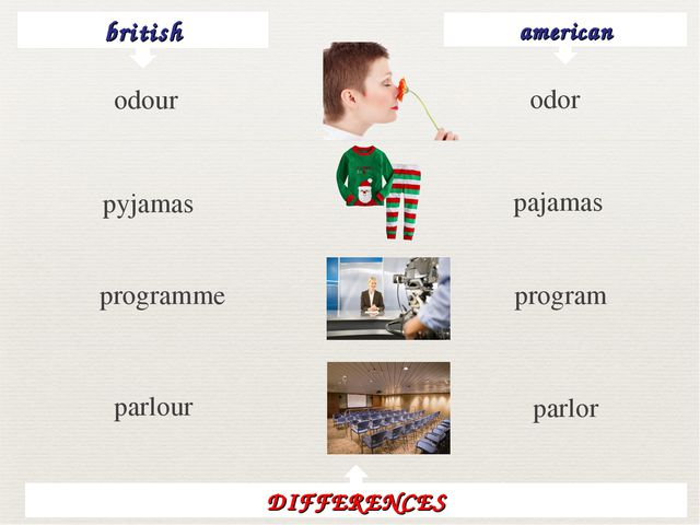 british american odor pyjamas pajamas programme program parlour parlor DIFFER...