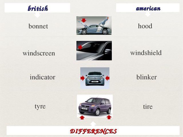 british american hood windscreen windshield indicator blinker tyre tire DIFFE...