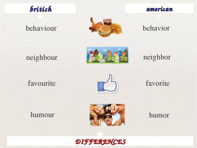 british american behavior neighbour neighbor favourite favorite humour humor...