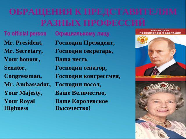 ОБРАЩЕНИЯ К ПРЕДСТАВИТЕЛЯМ РАЗНЫХ ПРОФЕССИЙ To official person Mr. President,...