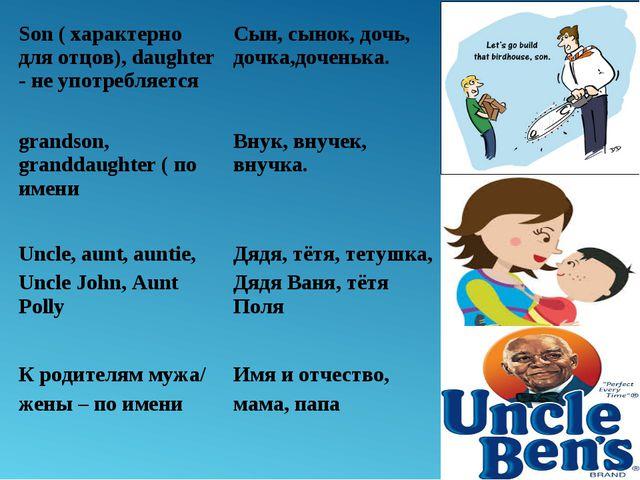 Son ( характерно для отцов), daughter - не употребляетсяСын, сынок, дочь, до...