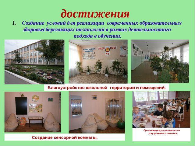 достижения Создание условий для реализации современных образовательных здоро...