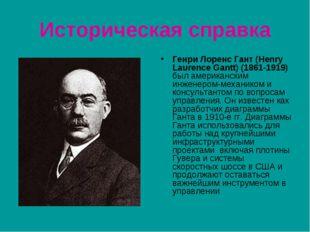 Историческая справка Генри Лоренс Гант (Henry Laurence Gantt) (1861-1919) был