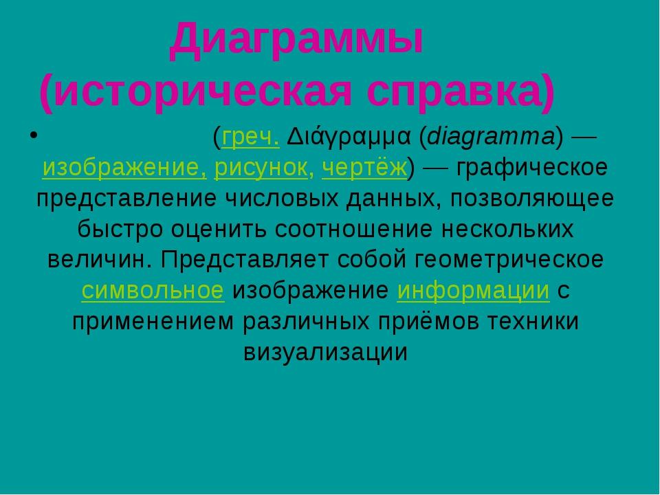 Диаграммы (историческая справка) Диагра́мма (греч. Διάγραμμα (diagramma) — из...