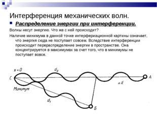 Интерференция механических волн. Распределение энергии при интерференции. Вол