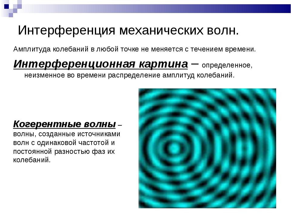 Интерференция механических волн. Амплитуда колебаний в любой точке не меняетс...
