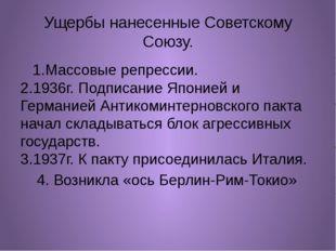 Ущербы нанесенные Советскому Союзу. 1.Массовые репрессии. 2.1936г. Подписание