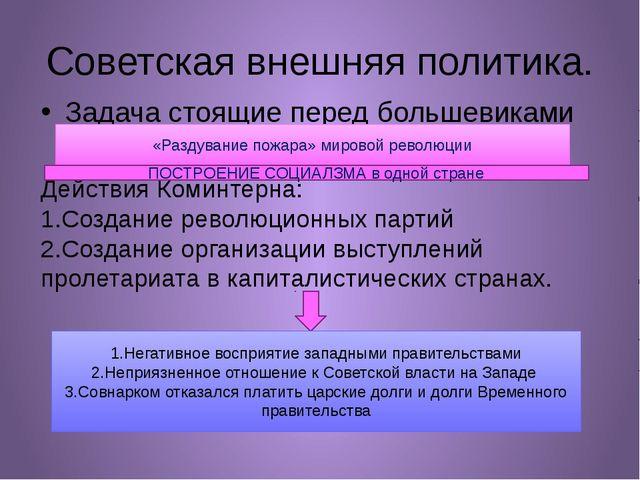 Советская внешняя политика. Задача стоящие перед большевиками Действия Коминт...