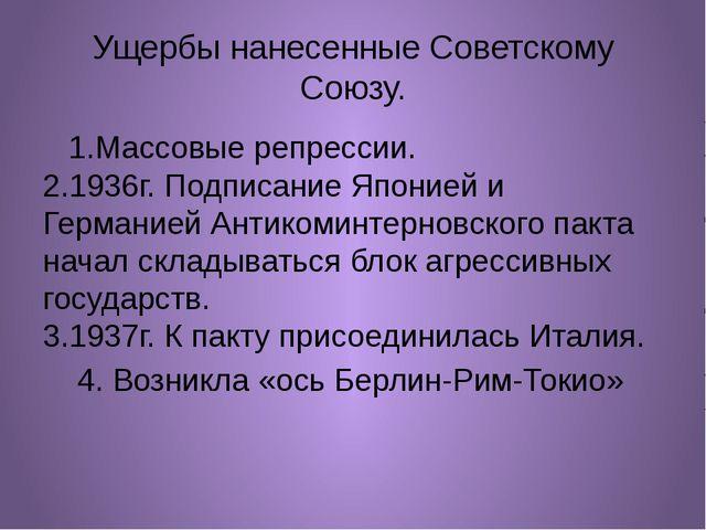 Ущербы нанесенные Советскому Союзу. 1.Массовые репрессии. 2.1936г. Подписание...