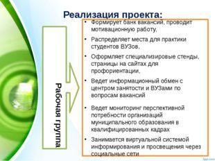Реализация проекта: Рабочая группа Формирует банк вакансий, проводит мотиваци