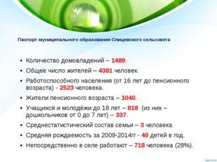 Паспорт муниципального образования Спицевского сельсовета Количество домовлад
